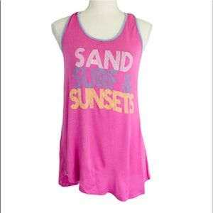 About A Girl Sand Surf Sunsets Tank Top Med